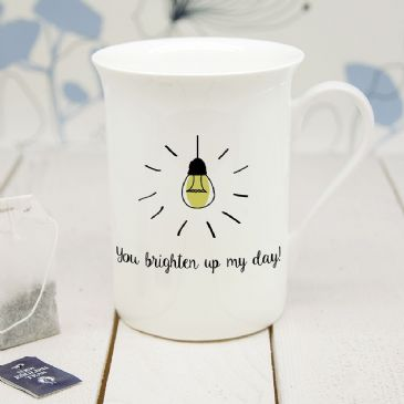 Personalised You Brighten Up My Day Bone China Mug